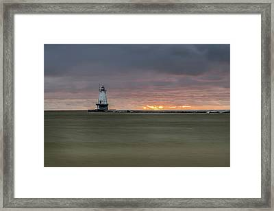 Lighthouse And Sunset Framed Print