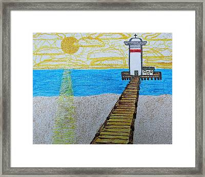 Lighthouse And Yellow Sun Framed Print