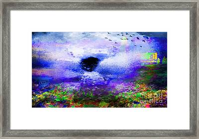 Lighthouse Angel Purple In Hotty Totty Style Framed Print