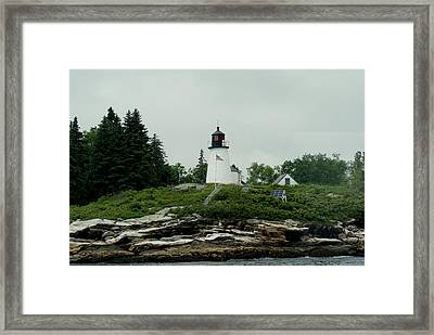 Lighthouse At Boothbay Harbor Framed Print by Lois Lepisto
