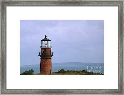 Lighthouse At Dusk- Marthas Vinyard Framed Print