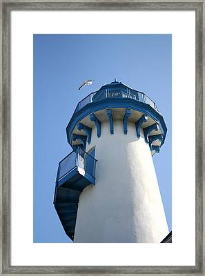 Lighthouse At Marina Del Rey Framed Print by Art Block Collections