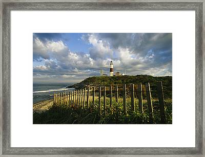 Lighthouse At Montauk With Dramatic Sky Framed Print by Skip Brown