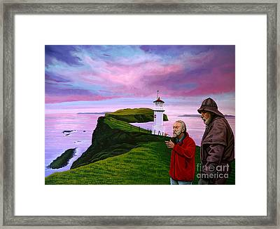 Lighthouse At Mykines Faroe Islands Framed Print by Paul Meijering