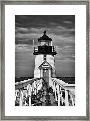 Lighthouse At Nantucket Island II - Black And White Framed Print by Hideaki Sakurai