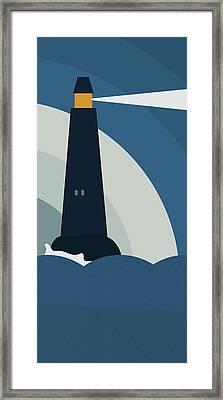 Lighthouse At Night Framed Print by Frank Tschakert