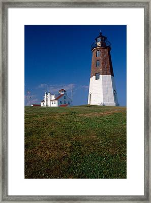 Lighthouse At Point Judith  Framed Print by George Oze