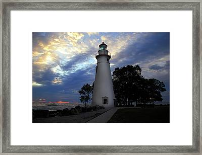 Framed Print featuring the photograph Lighthouse At Sunrise by Angela Murdock