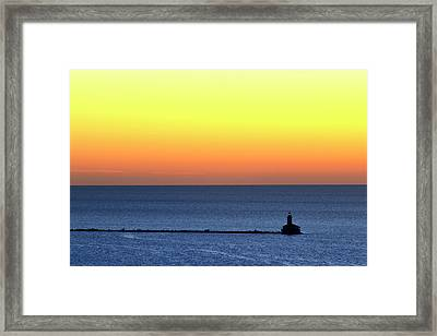 Framed Print featuring the photograph Lighthouse At Sunrise On Lake Michigan by Zawhaus Photography