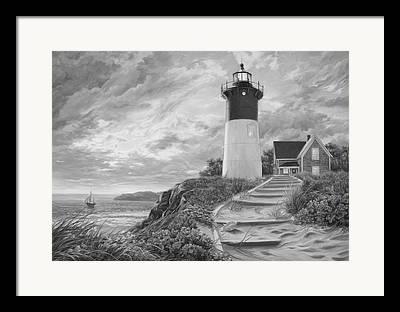 Lighthouse At Sunset Framed Prints