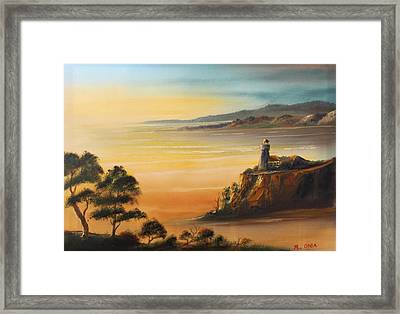 Lighthouse At Sunset Framed Print by Remegio Onia