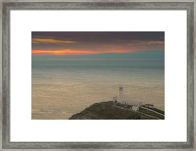 Lighthouse At Sunset,south Stack, Anglesey,north Wales Framed Print