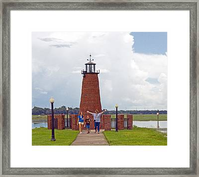 Lighthouse At The Port Of Kissimmee On Lake Tohopekaliga In Central Florida Framed Print by Allan  Hughes