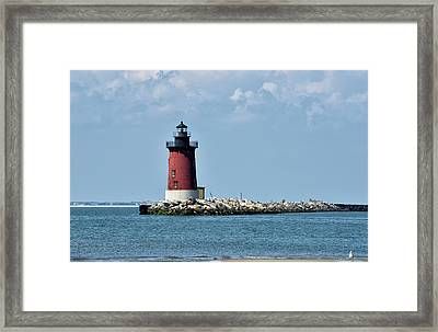 Framed Print featuring the photograph Delaware Breakwater East End Lighthouse - Lewes Delaware by Brendan Reals