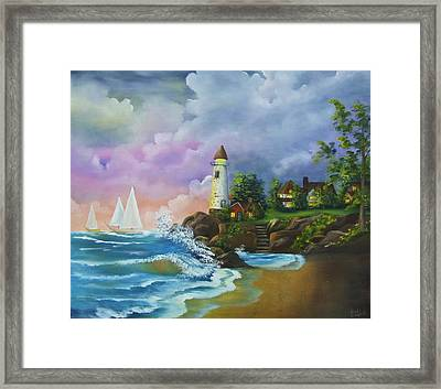 Lighthouse By The Village Framed Print