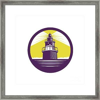 Lighthouse Circle Woodcut Framed Print