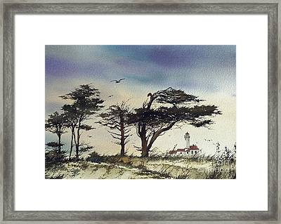 Framed Print featuring the painting Lighthouse Coast by James Williamson