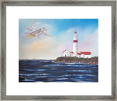 Lighthouse Fly By Framed Print by Tony Rodriguez