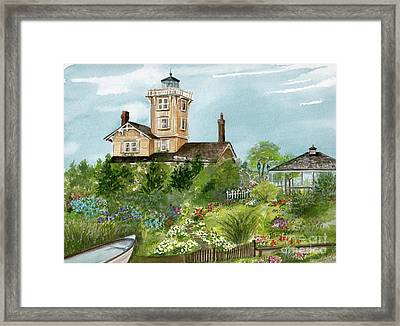 Framed Print featuring the painting Lighthouse Gardens  by Nancy Patterson