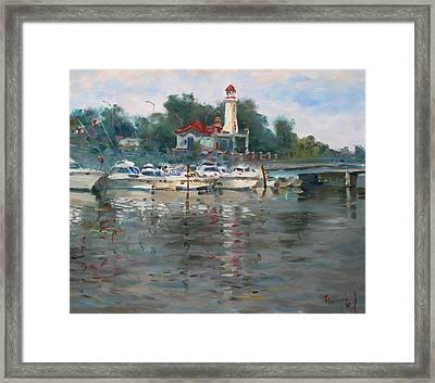 Lighthouse In Lake Shore Mississauga Framed Print