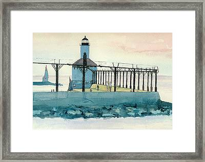 Lighthouse In Michigan City Framed Print