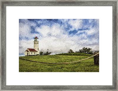 Lighthouse In The Clouds II Framed Print