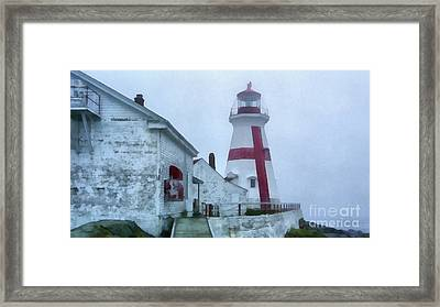 Lighthouse In The Fog Framed Print by Edward Fielding
