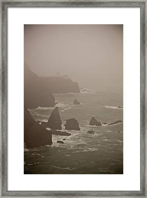 Lighthouse In The Fog Framed Print by Patrick  Flynn