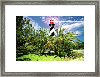 Lighthouse In The Palms Framed Print