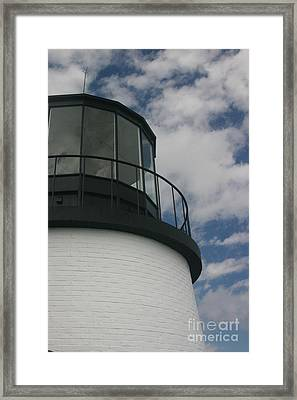 Lighthouse In The Sky Framed Print by Dennis Curry