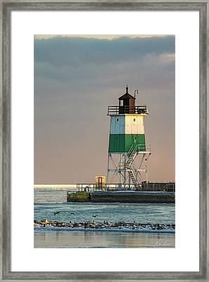 Lighthouse In The Sunset Framed Print