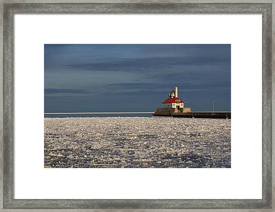Framed Print featuring the photograph Lighthouse In Winter by Ron Read