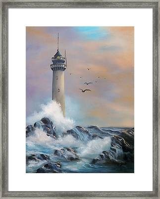 Framed Print featuring the painting Lighthouse by Joni McPherson
