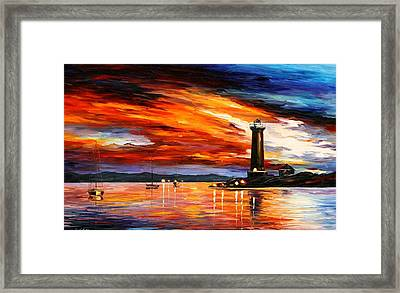 Lighthouse Framed Print by Leonid Afremov
