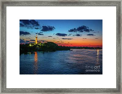 Lighthouse Light Beam Framed Print