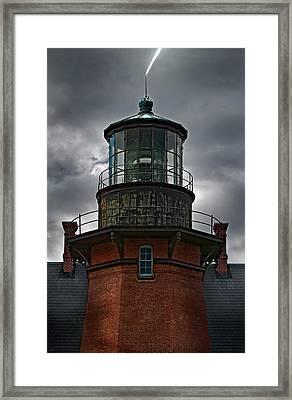 Lighthouse Lightning Framed Print