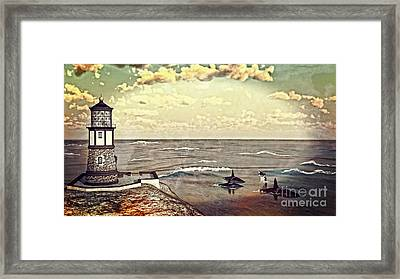 Lighthouse Lookout Framed Print by Methune Hively