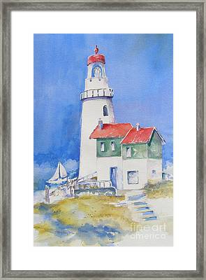 Framed Print featuring the painting Lighthouse by Mary Haley-Rocks