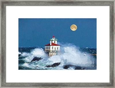 Lighthouse Moon Framed Print