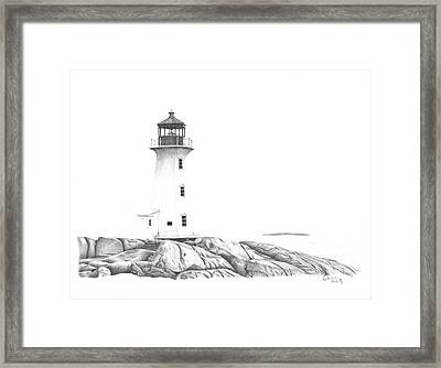 Lighthouse Of Peggy's Cove Framed Print by Patricia Hiltz