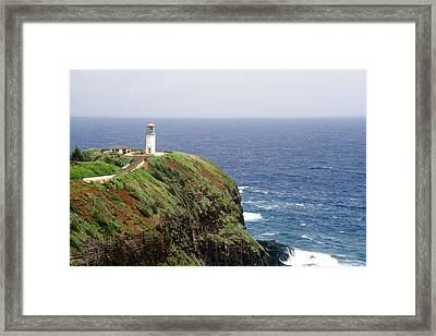 Lighthouse On A Cliff Kileaua Lighthouse Framed Print by George Oze