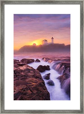 Lighthouse On Fire Framed Print by Michael Blanchette