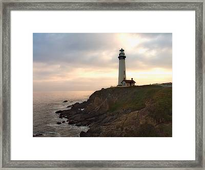 Lighthouse On The Cliff  Pigeon Point  California Framed Print by George Oze