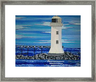 Framed Print featuring the painting Lighthouse On The Shannon by Carolyn Cable