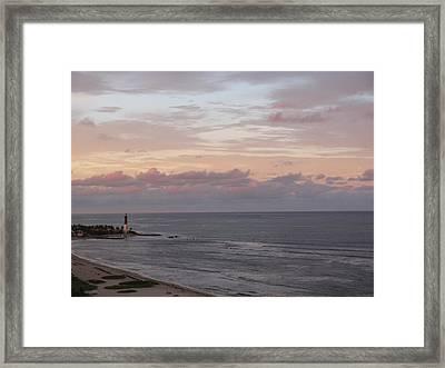 Lighthouse Peach Sunset Framed Print