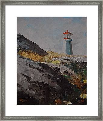 Lighthouse Peggys Cove Ns Framed Print by Chris  Riley