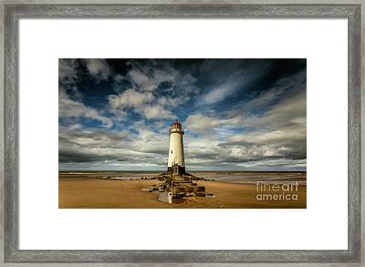 Lighthouse Point Of Ayre Framed Print by Adrian Evans