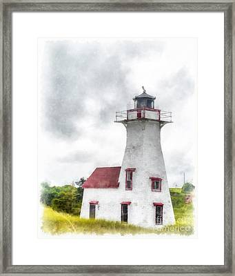 Lighthouse Prince Edward Island Watercolor Framed Print