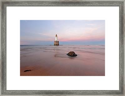 Framed Print featuring the photograph Lighthouse Sunset Rattray Head by Grant Glendinning