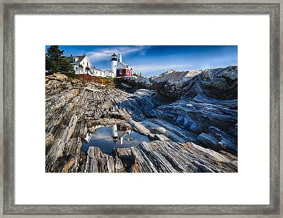 Lighthouse Reflections Framed Print by George Oze